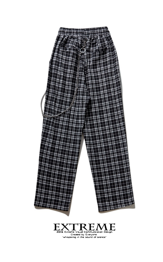 EXTREME PLAID PANTS WITH CHAIN GREY