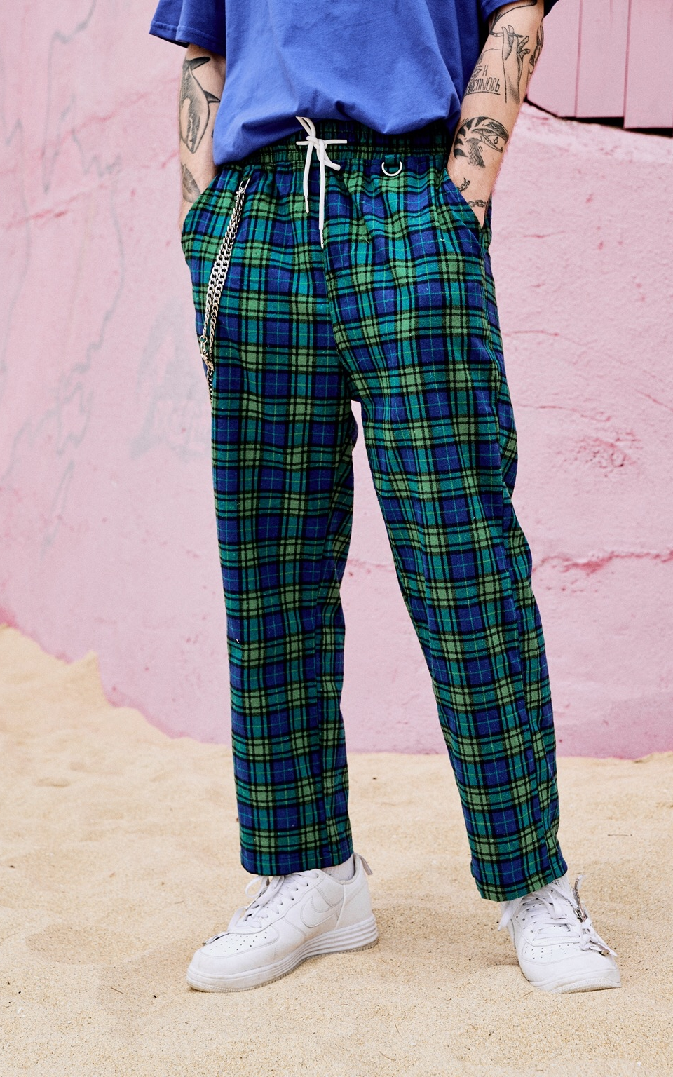 EXTREME PLAID PANTS WITH CHAIN BLUE GREEN