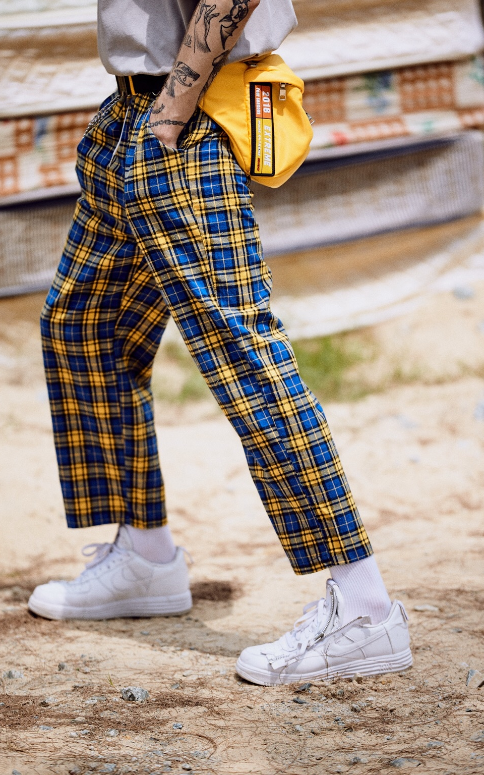 EXTREME PLAID PANTS WITH CHAIN YELLOW GREEN